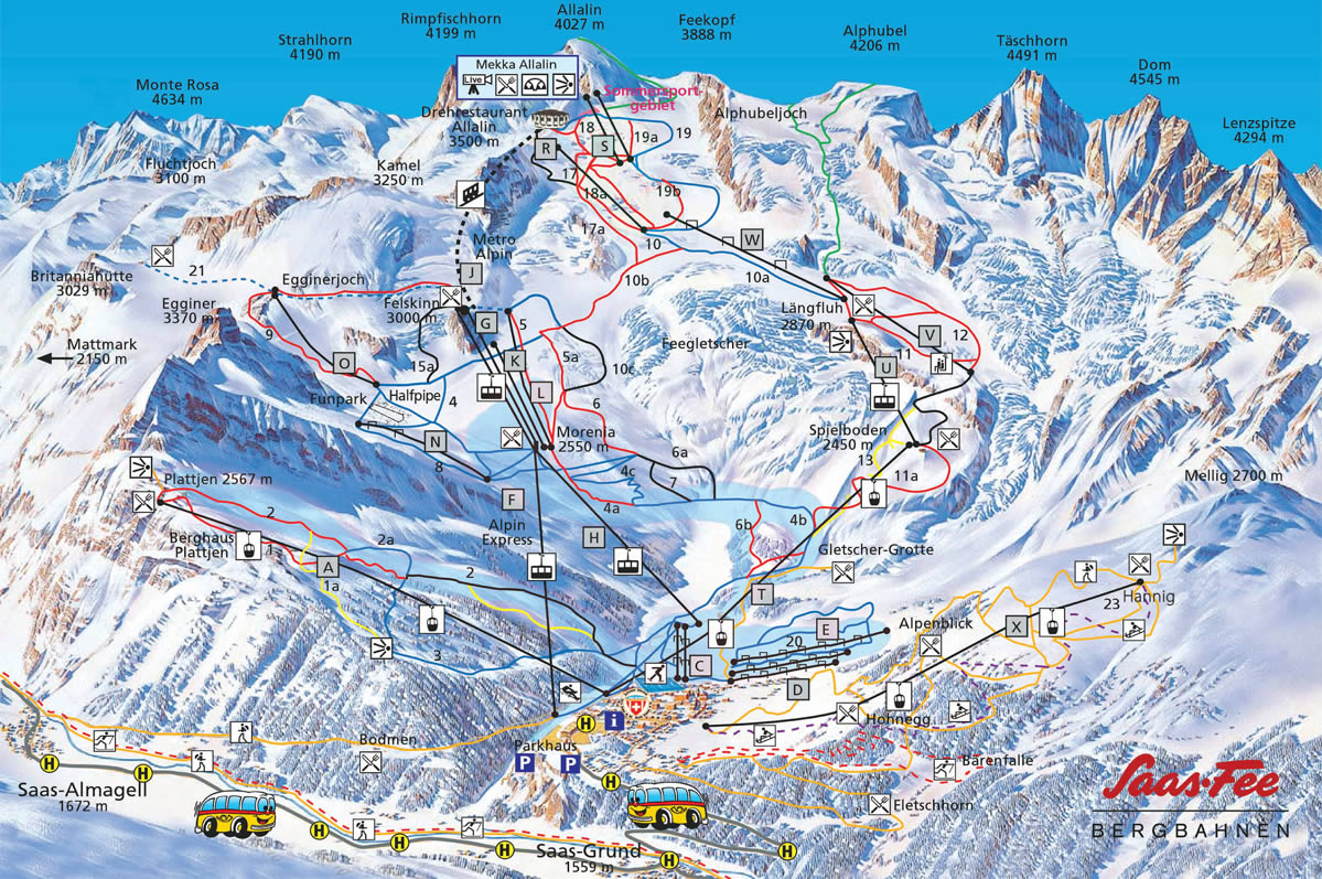 Saas Fee Piste Map Interactive map of Saas Fee